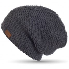 Tmavě šedá ručně pletená čepice DOKE Dark