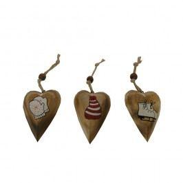 Set 3 závěsných dekorací ve tvaru srdce Antic Line