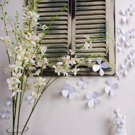 Sada 12 bílých adhezivních 3D samolepek Ambiance Flowers Tapety análepky