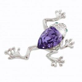 Brož se Swarovski Elements Laura Bruni Dragonfly Denna Frog Violet