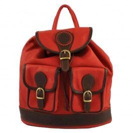 Červený kožený batoh Chicca Borse Becky