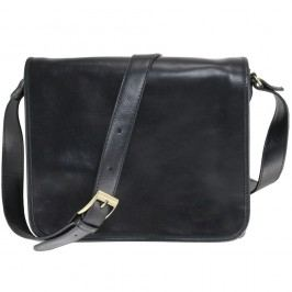 Černá kožená taška přes rameno Chicca Borse Norma