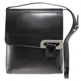 Černá kožená kabelka Chicca Borse Valeria
