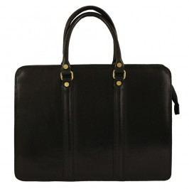 Černá kožená kabelka Chicca Borse Laura
