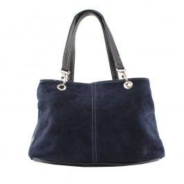 Tmavě modrá kožená kabelka Chicca Borse Westo