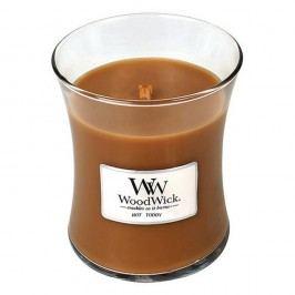 Svíčka s vůní skořice, muškátového oříšku a karamelu WoodWick Horký punč, dobahoření60hodin
