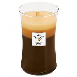 Svíčka s vůní cukroví, vanilky a karamelu WoodWick Trilogy Dezert v kavárně, dobahoření130hodin Svíčky aaromalampy