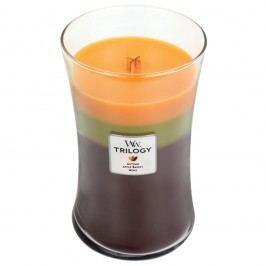 Svíčka s vůní koláče, rybízu, brusinek, fialek a jasmínu WoodWick Trilogy Podzimní tradice, dobahoření130hodin