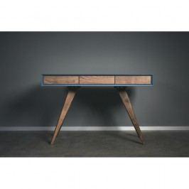 Modrý pracovní stůl z masivního jasanového dřeva Charlie Pommier Triangle, 130x70cm
