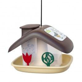 Hnědé krmítko pro ptactvo Plastia Domek