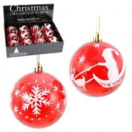 Sada 12 červeno-bílých vánočních baněk Unimasa