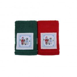 Sada 2 ručníků Kardan Adam Red&Green, 50x100cm