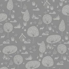 Šedá tapeta do dětského pokoje Art For Kids Forest, 48x1000 cm