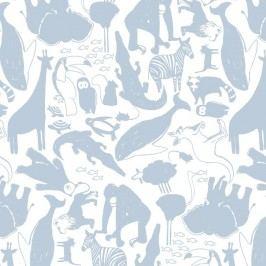 Modrá tapeta do dětského pokoje Art For Kids Animals, 48x1000 cm
