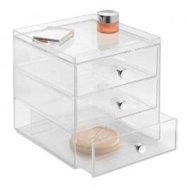 Transparentní organizér se 3 šuplíky iDesign Drawers, výška18 cm
