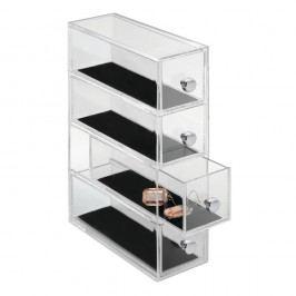 Transparentní oganizér se 4 šuplíky iDesign Clarity, výška25,5cm Vybavení koupelny