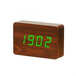 Tmavě hnědý budík se zeleným LED displejem Gingko Brick Click Clock Hodiny abudíky