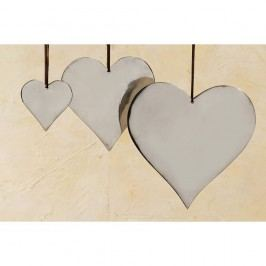 Sada 3 závěsných dekorací Boltze Heart Plain