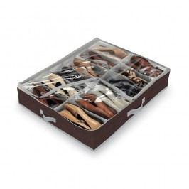 Hnědý organizér na 12 párů obuvi Domopak Classic Úložné krabice akošíky