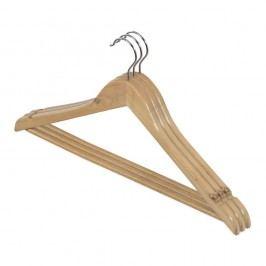 Sada 3 dřevěných ramínek se zářezy a kalhotovou tyčí Domopak Living Věšáky, háčky astojany