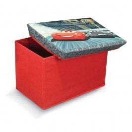 Červená úložná taburetka na hračky Domopak Cars, délka49cm Úložné krabice akošíky