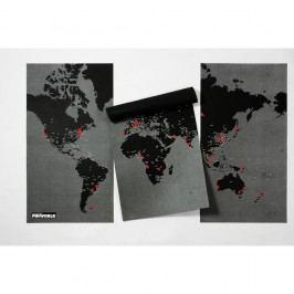 Černá nástěnná mapa světa Palomar Pin World XL, 198x124cm