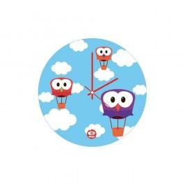 Modré skleněné dětské nástěnné hodiny e-my Sky