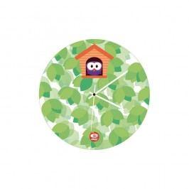 Zelené skleněné dětské nástěnné hodiny e-my Cucu