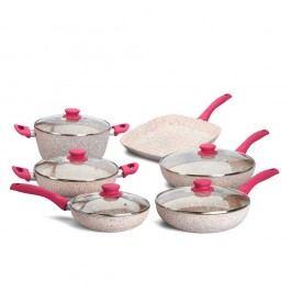 10dílný set nádobí s růžovou rukojetí Bisetti Stonerose