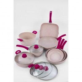 13dílný set nádobí s poklicemi a fialovou rukojetí Bisetti Stonerose