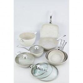 8dílný set nádobí s rukojetí ve stříbrné barvě a poklicemi Bisetti Stonewhite Giada