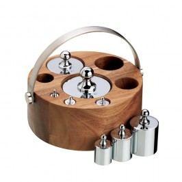 Set 8 závaží na váhu a stojan z akáciového dřeva Kitchen Craft Natural Elements