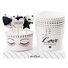 Sada 10 papírových kelímků na zmrzlinu se zapichovacími dekoracemi Miss Étoile Eyes