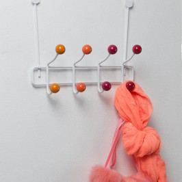 Oranžový kovový věšák na dveře s 8 háčky Compactor Colorful