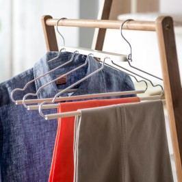 Dělené dřevěné ramínko s kalhotovou tyčí Compactor
