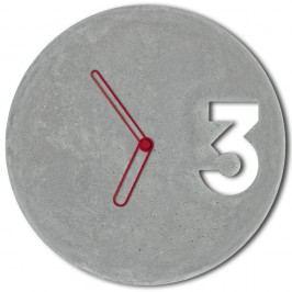 Betonové hodiny s ohraničenými červenými ručičkami od Jakuba Velínského