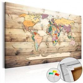Nástěnka s mapou světa Artgeist The World at Your Fingertips, 90x60cm