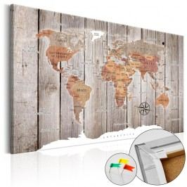 Nástěnka s mapou světa Artgeist Wooden Stories, 120x80cm