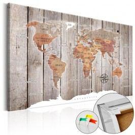 Nástěnka s mapou světa Artgeist Wooden Stories, 90x60cm
