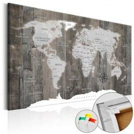 Nástěnka s mapou světa Artgeist World of Wood, 60x40cm