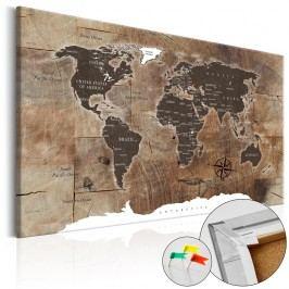 Nástěnka s mapou světa Artgeist Wooden Mosaic, 90x60cm