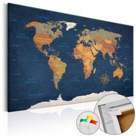 Nástěnka s mapou světa Artgeist Ink Oceans, 60x40cm
