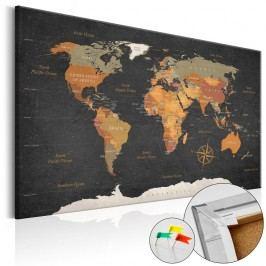 Nástěnka s mapou světa Artgeist Secrets of The Earth, 90x60cm
