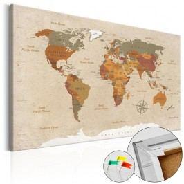 Nástěnka s mapou světa Artgeist Beige Chic, 60x40cm