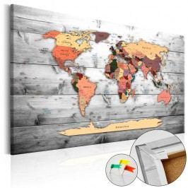 Nástěnka s mapou světa Artgeist Direction World, 90x60cm