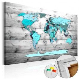 Nástěnka s mapou světa Artgeist Blue Continents, 90x60cm