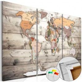 Vícedílná nástěnka s mapou světa Artgeist History of Travel, 90x60cm