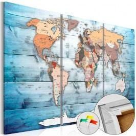 Vícedílná nástěnka s mapou světa Bimago Sapphire Travels, 120x80cm