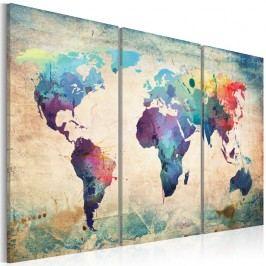 Vícedílný obraz na plátně Bimago Rainbow Map 120x80cm Obrazy, rámy atabule