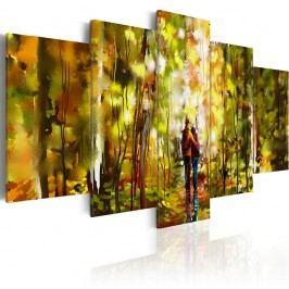 Vícedílný obraz na plátně Artgeist Romantic Walk, 100 x 50 cm Obrazy, rámy atabule